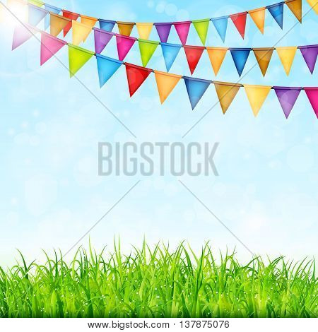 Greeting card with colorful flags and green grass vector