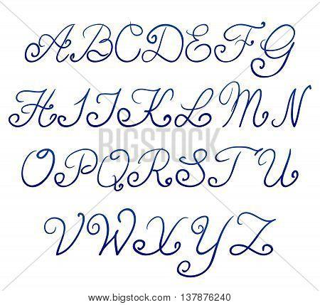 Handwritten alphabet on a white background vector