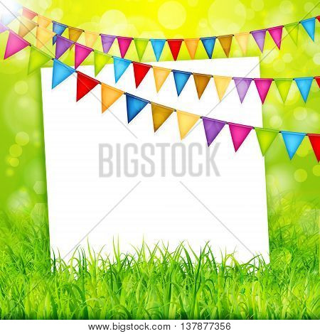 Greeting card with colorful flags and green grass background vector