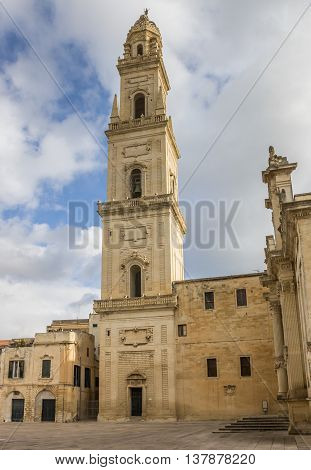 Belfry of the cathedral in Lecce Italy