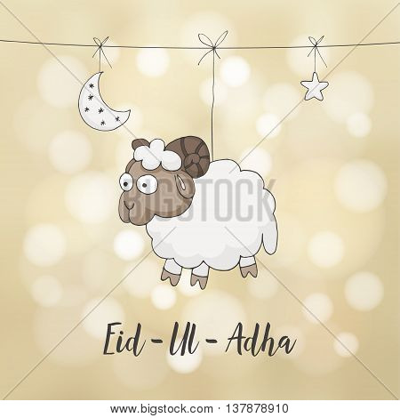 Eid-ul-adha greeting card. Decoration with hand drawn sheep moon stars and lights. Muslim community festival of sacrifice. Festive blurred vector background.