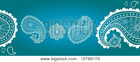 Eastern ornament against blue background poster