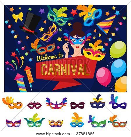 Welcome to carnival concept with disguised colorful festival and set of mask icons isolated vector illustration