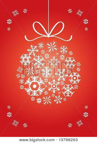Vector illustration of ball made of snowflakes on a red background