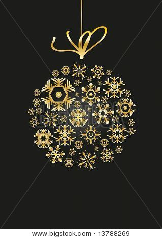 Vector of golden ball made of snowflakes on black background