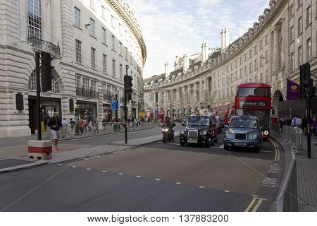 LONDON, UNITED KINGDOOM - SEPTEMBER 11 2015: Regent Street in London with cabs waiting at the traffic jam