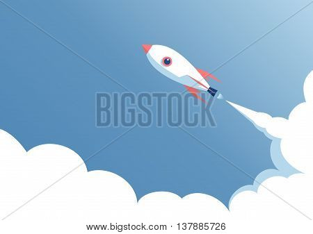 cartoon rocket flying in the blue sky space ship launch on a blue background startup concept