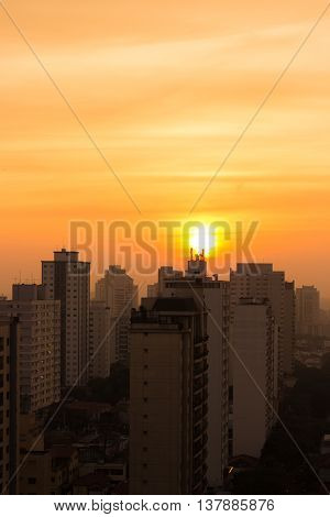 Sunset Over Sao Paulo, Brazil - South America