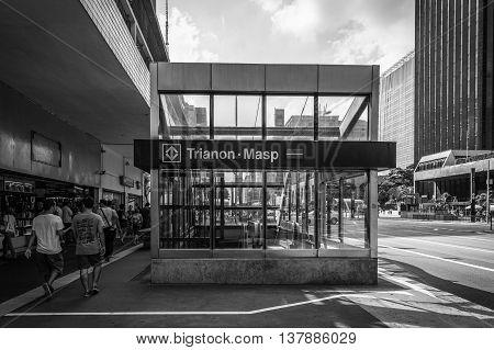Sao Paulo, Brazil - Feb 8 2016 - Trianon Masp - Metro - Paulista