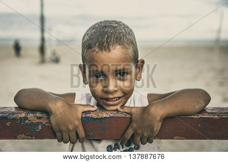 Sao Miguel dos Milagres, Brazil - May 2016 - Portrait of cute small boy smiling
