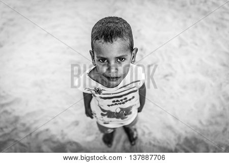Sao Miguel dos Milagres, Alagoas - Brazil - May 2016 - Portrait of cute small boy looking up