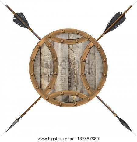 Antique old wooden arrow and shield isolated on a white background