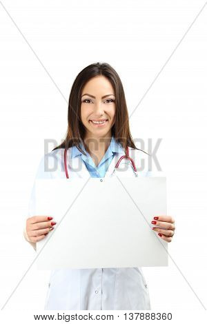Portrait Of Young Medical Doctor With Sheet On Blank Paper On A Grey Background
