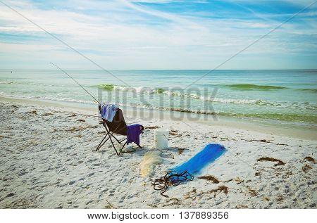 Beach Chair With Fishing Rod