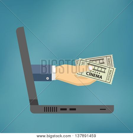 Hand coming out of the laptop with cinema tickets on the blue background.