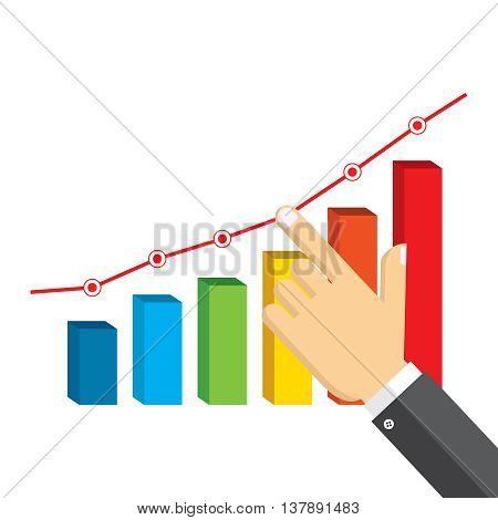 Businessman pointing at growth graph. Business concept.