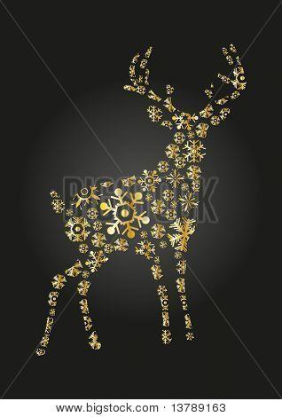 Vector illustration of golden reindeer on a black background