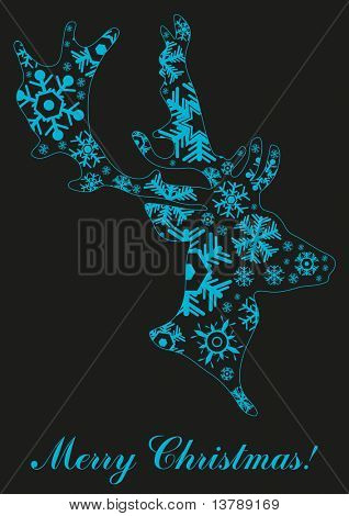 Vector illustration of head of Christmas reindeer formed by blue  snowflakes