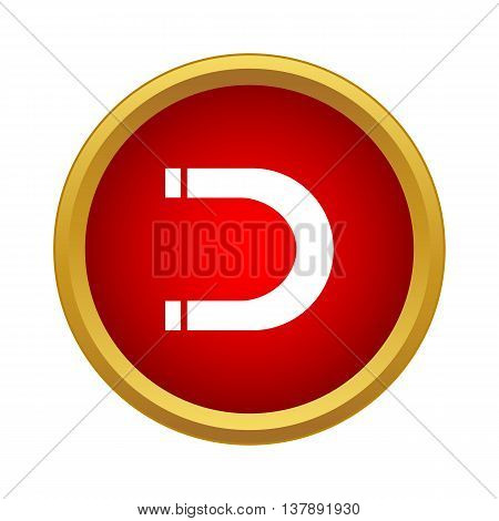 Magnet icon in simple style in red circle. Attraction symbol