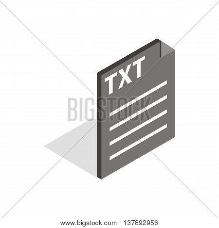Document file format TXT icon in isometric 3d style isolated on white background