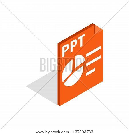PPT file extension icon in isometric 3d style isolated on white background