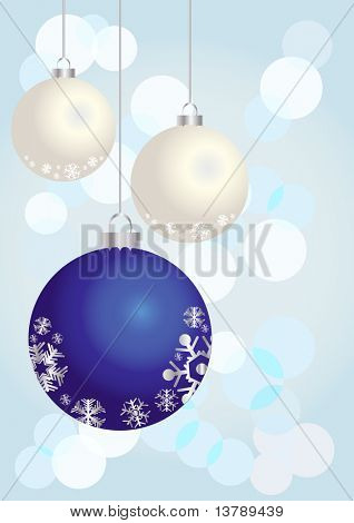 Vector illustration of Christmas balls on a shiny background