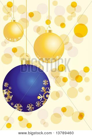 Vector illustration of golden and blue balls