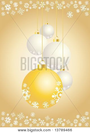 Vector illustration of xmas balls with snowflakes