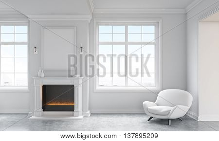 Front view of classic living room interior with concrete floor white armchair windows with city view and a blank picture frame above fireplace. Mock up 3D Rendering
