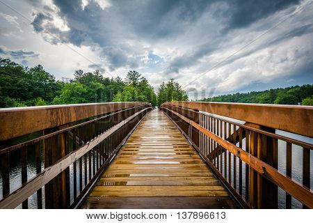 Pedestrian Bridge Over The Piscataquog River, In Manchester, New Hampshire.