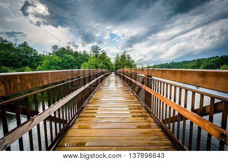 Pedestrian Bridge Over The Piscataquog River, In Manchester, New Hampshire.