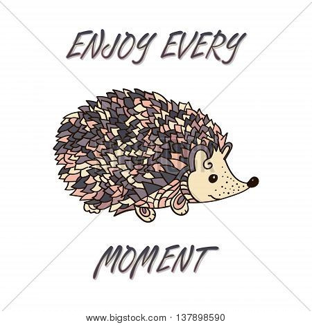 Hedgehog isolated. Cute cartoon animal background. Boho styled. Vector