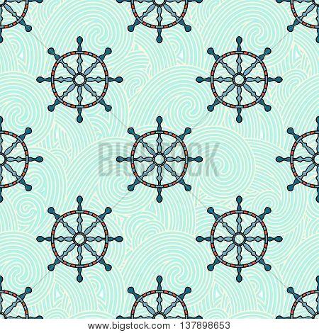 Ship helm vector seamless pattern. Helm, steering wheel and blue waves seamless texture. Steering wheel and wave symbols seamless pattern. Ship helm vector wallpaper design.