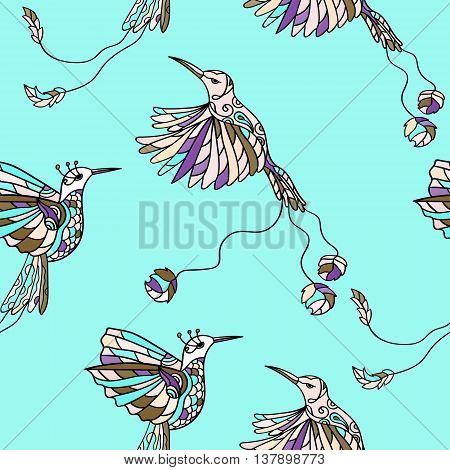 Seamless pattern with colibri. Colored tropical bird. Vector illustration. A pair of hummingbirds.