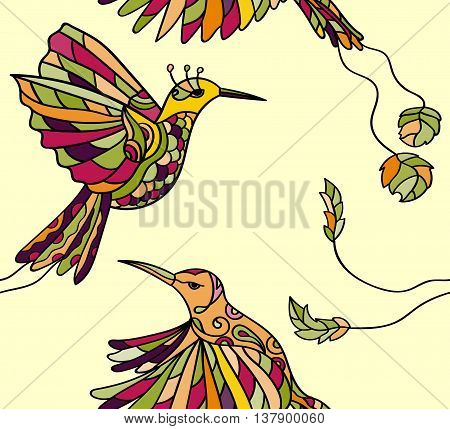 Seamless pattern with colibri. Colored tropical bird. Vector illustration. Peryvian style.
