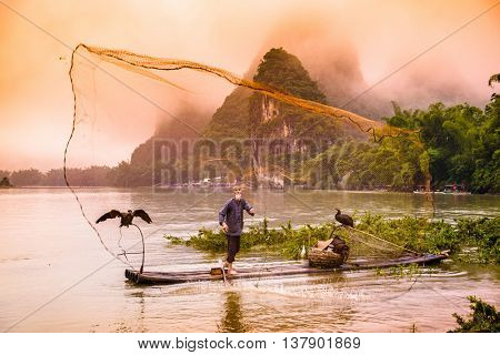 Traditional Chinese cormorant fisherman casts a net on the Li River in Yangshuo, China.