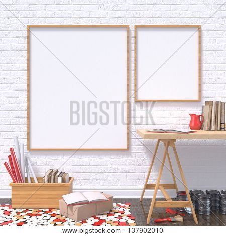 Mock up posters frames in art atelier with wooden table and red details 3D render illustration