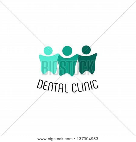 Isolated designed teeth vector logo. Dental clinic logotype. Cartoon people silhouette illustration. Turquoise color dentition icon.