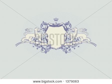 An heraldic shield or badge with lion blank so you can add your own images. illustration poster