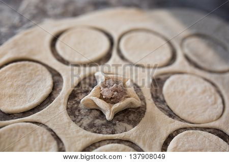Raw homemade russian food - dumpling. They're in flour and have form of star. Pork chicken mincemeat. Background table in kitchen.