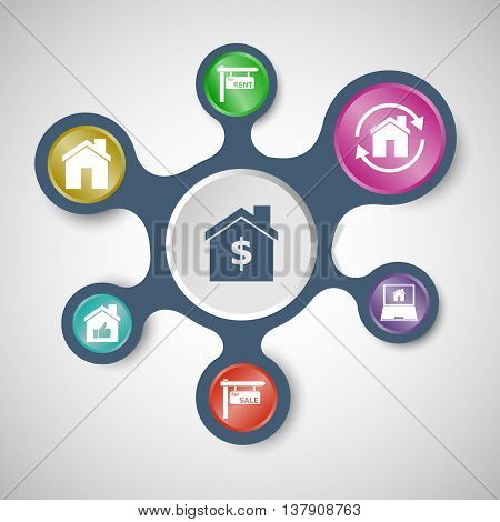 Real estate infographic templates with connected metaballs, stock vector