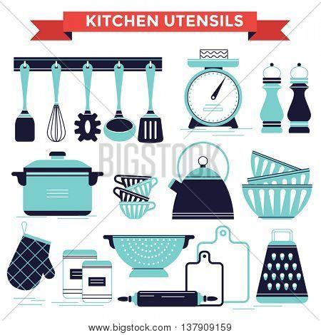 Kitchen utensils set, vector illustration flat design style