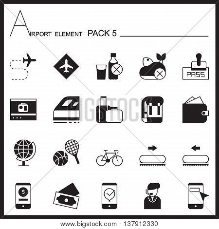 Airport Element Graph Icon Set 5.Mono pack.Graphic vector logo set.Pictogram design.