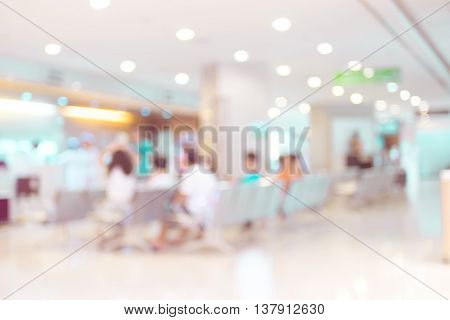 Blurred Background : Vintage Filter Patient Waiting For See Doctor