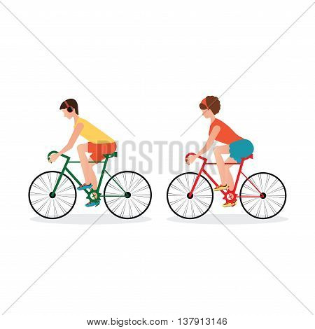 Couple Riding Bicycles isolated on white backgroundFlat Design healthy lifestyle conceptual vector illustration.