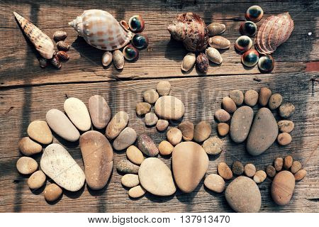 Abstract Cute Pebbles, Footprint From Boulder