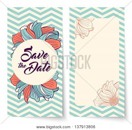 Save the Date card with background chevron and flowers. Round frame for text. Save the Date lettering. Wedding invitation vector illustration. Teal chevron pattern.