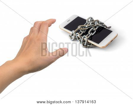 Human hand trying to catch chained smart phone isolate on white background with clipping path and copy space. Concept of social network issues security phubbing smart phone addiction