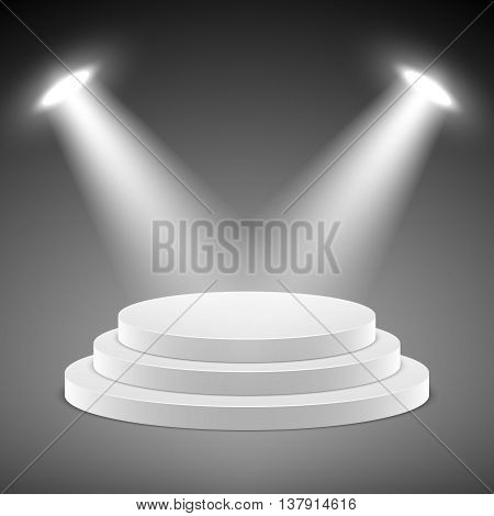 Realistic pedestal, 3d empty podium with spotlights vector illustration. Stage empty with spotlight and realistic stage platform for presentation