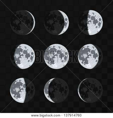 Moon phases vector set. Night moon and nature full moon illustration
